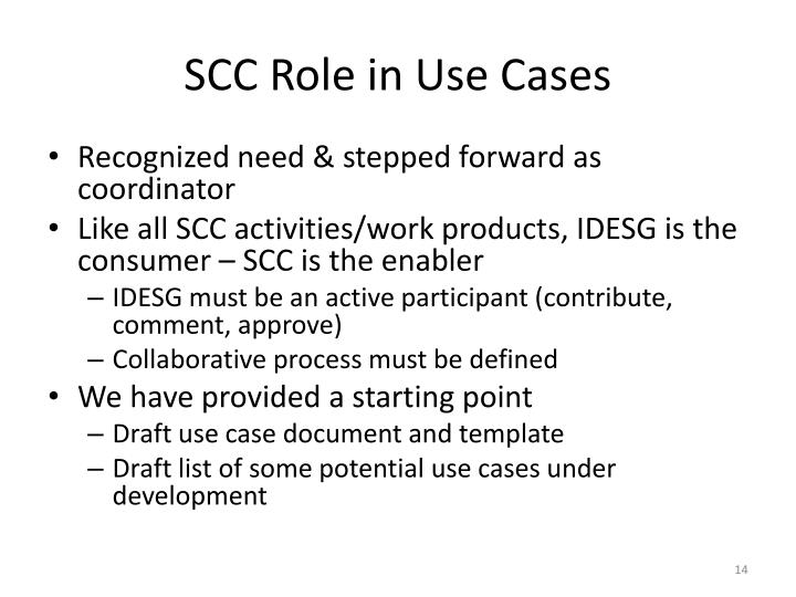 SCC Role in Use Cases