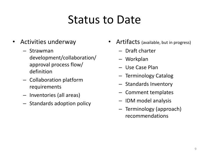 Status to Date