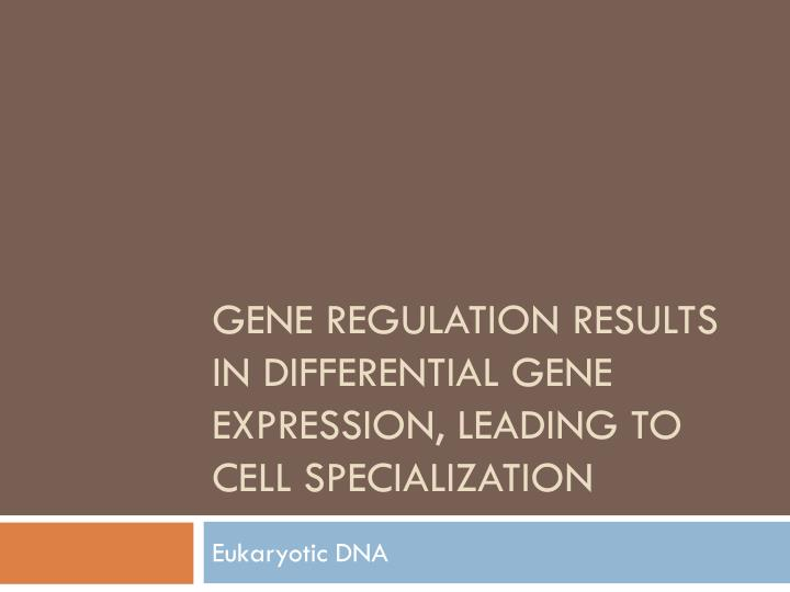 gene regulation results in differential gene expression leading to cell specialization n.
