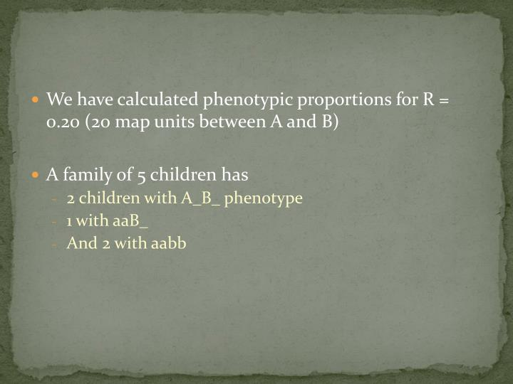 We have calculated phenotypic proportions for R = 0.20 (20 map units between A and B)