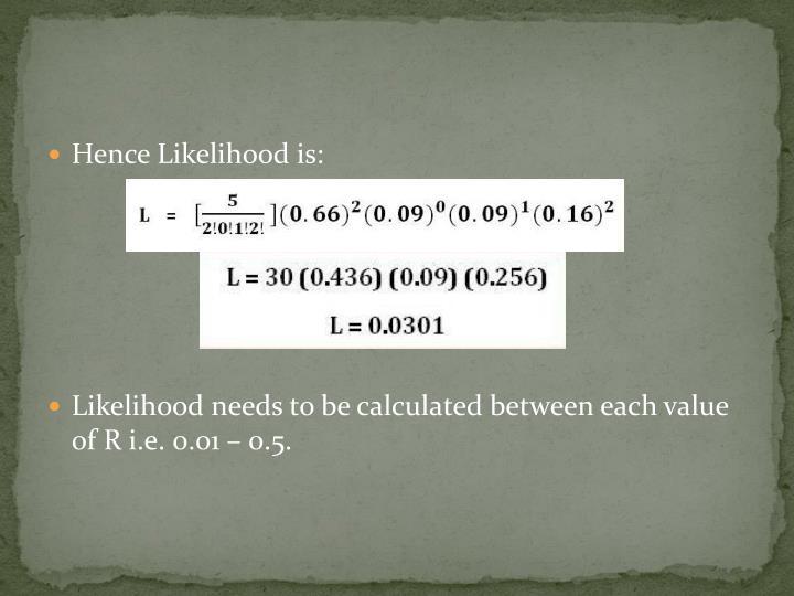 Hence Likelihood is: