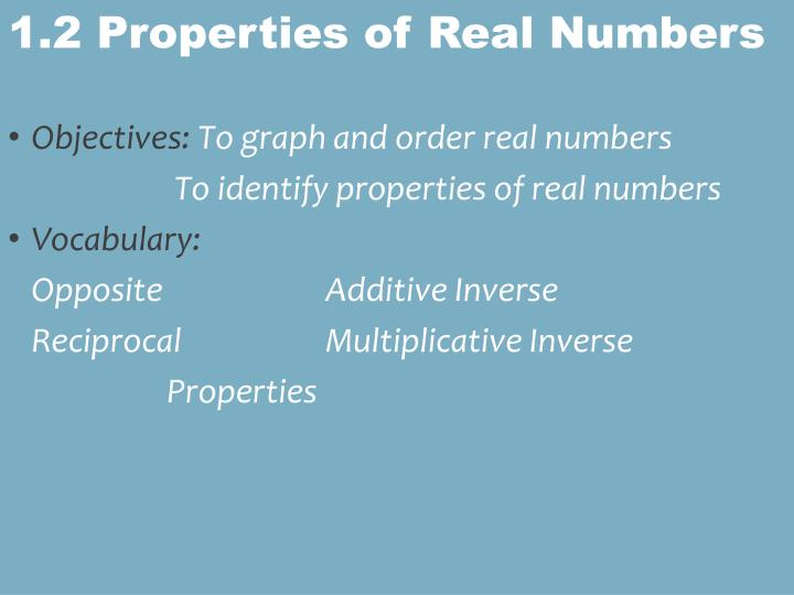 1 2 properties of real numbers n.