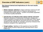 overview of drf indicators cont