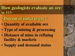 how geologists evaluate an ore p 113