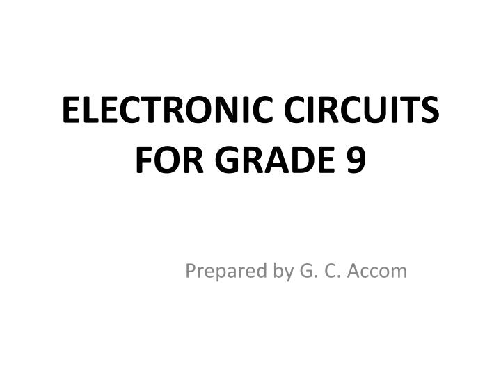 electronic circuits for grade 9 n.