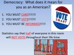 democracy what does it mean for you as an american