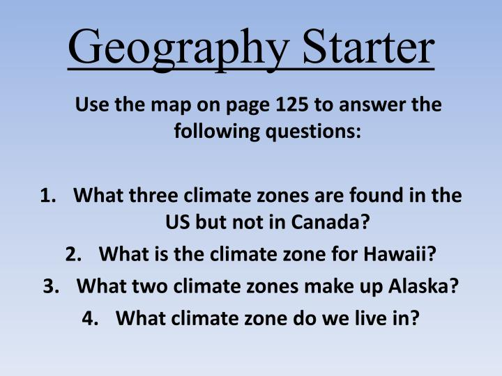 geography starter n.
