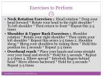 exercises to perform