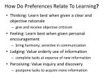 how do preferences relate to learning1