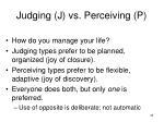 judging j vs perceiving p