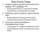 main points today