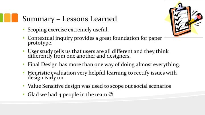 Summary – Lessons Learned