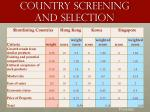 country screening and selection