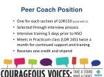 peer coach position