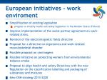 european initiatives work enviroment