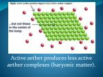 active aether produces less active aether complexes baryonic matter