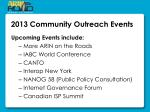 2013 community outreach events
