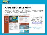 arin s ipv4 inventory