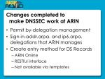 changes completed to make dnssec work at arin