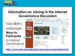 information on joining in the internet governance d iscussion