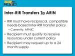 inter rir transfers to arin