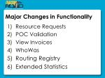 major changes in functionality