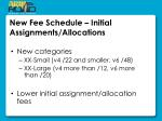 new fee schedule initial assignments allocations