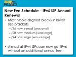 new fee schedule ipv6 isp annual renewal