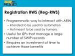 registration rws reg rws