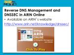 reverse dns management and dnssec in arin online