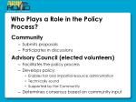 who plays a role in the policy process