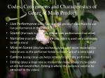 codes conventions and characteristics of genre of main product