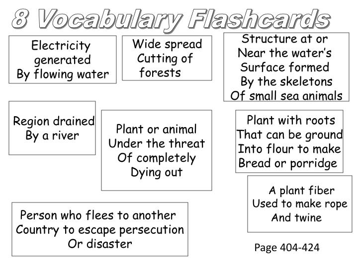 8 Vocabulary Flashcards