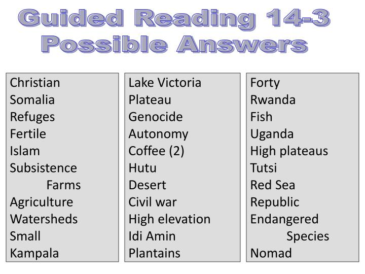 Guided Reading 14-3