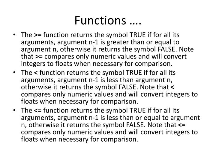 Functions ….