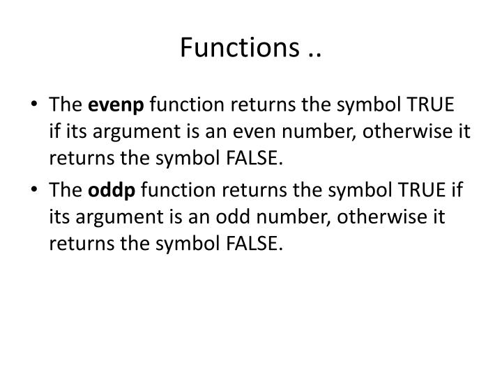 Functions ..
