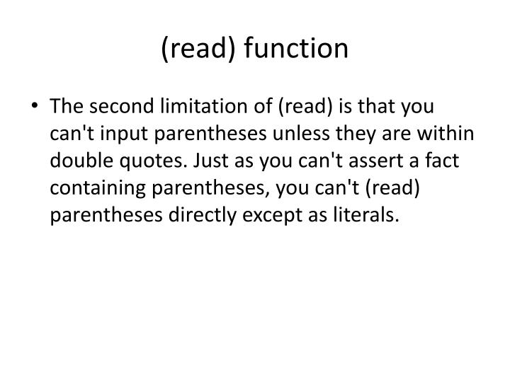 (read) function