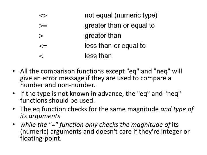 """All the comparison functions except """""""