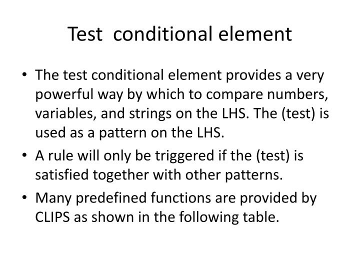 Test  conditional element