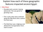 explain how each of these geographic features impacted ancient egypt