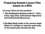 preparing sample lesson plan based on a mta