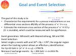 goal and event selection