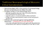 traditional neuropsychological measures critical considerations