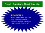step 2 questions about your life1