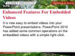 enhanced features for embedded videos