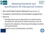 adopting standards and specifications for educational content