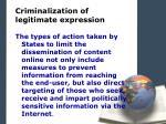 criminalization of legitimate expression