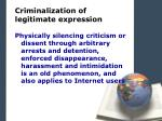 criminalization of legitimate expression1