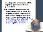 inadequate protection of the right to privacy and data protection