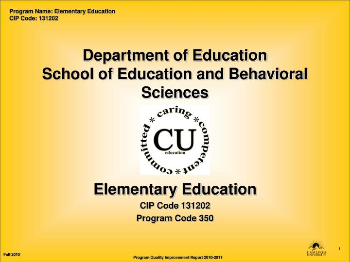 department of education school of education and behavioral sciences n.